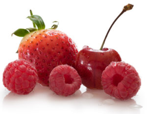 Strawberry, cherry and raspberries