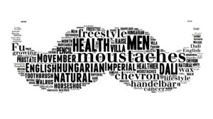 Moustaches shaped word cloud made of names for moustaches styles. Movember support for men's health awareness in November.