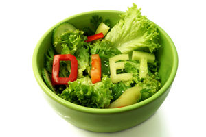 Green plate with word diet