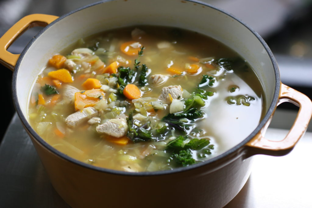 Chicken Soup With Leeks Ambercup Squash Carrots And Kale