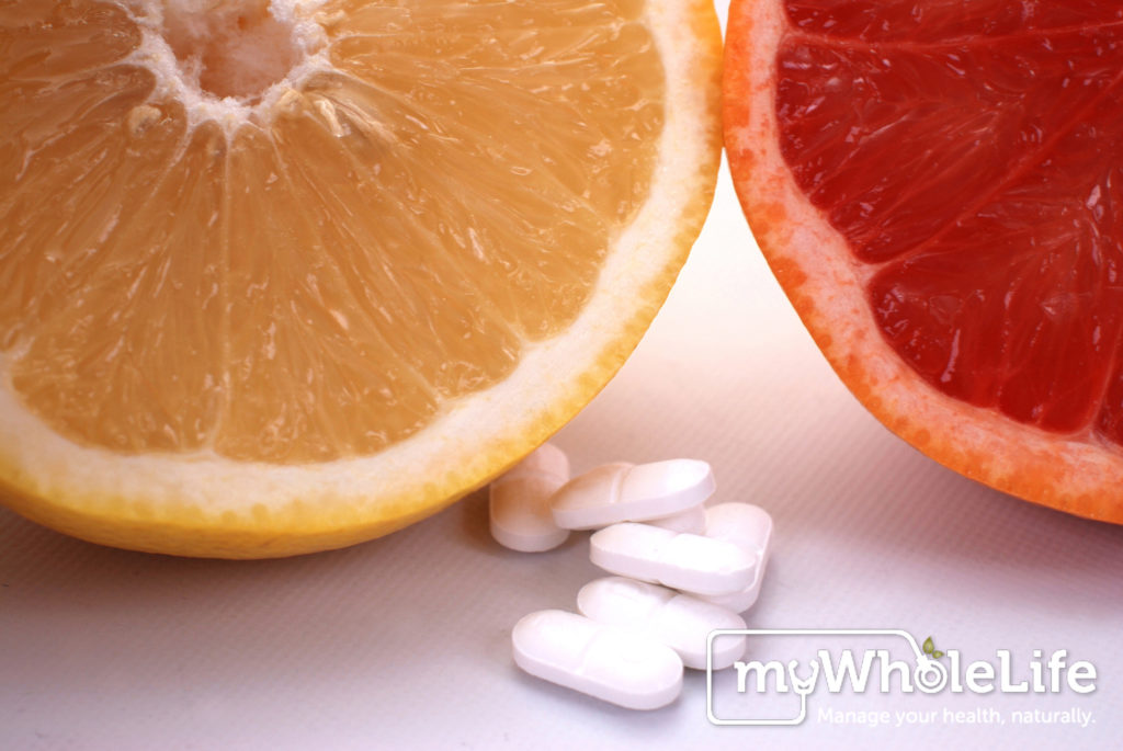 grapefruit and orange , pills