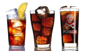 Glass with cola collection isolated on white